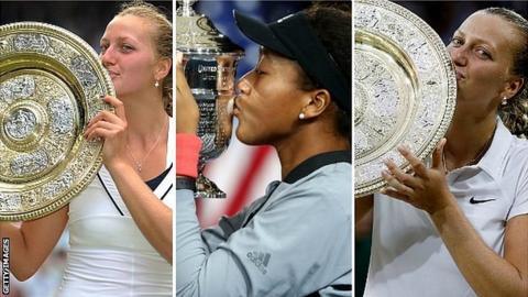 Petra Kvitova at Wimbledon 2011 and 2014 & Naomi Osaka at US Open 2018
