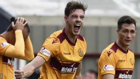 Motherwell's Ben Heneghan celebrates against Rangers