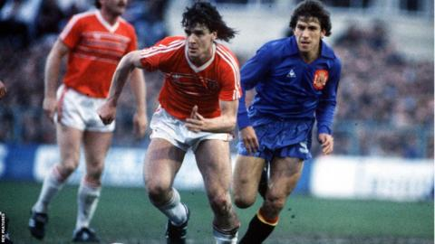 1985: Mark Hughes scored a stunning scissor volley in Wales' 3-0 World Cup qualifying win over Spain at Wrexham's Racecourse.