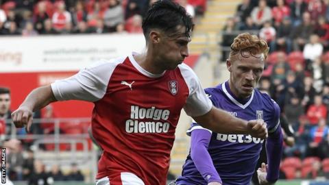 Joe Newell in action for Rotherham United