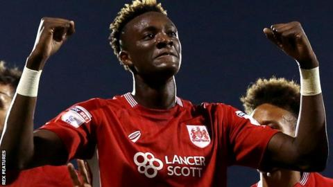 Tammy Abraham celebrates Bristol City's winning goal