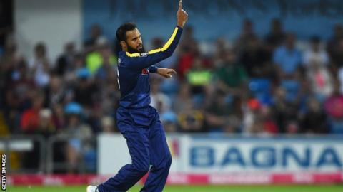 Adil Rashid in action for Yorkshire