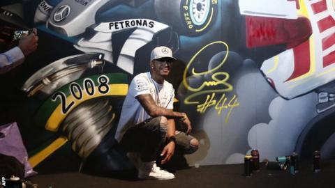 Hamilton and his graffiti signature