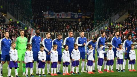 Chelsea fans watched their team beat Slavia Prague 1-0 in the first leg of their Europa League quarter-final in April
