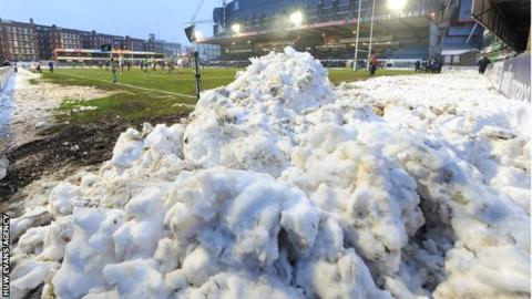 Snow at Cardiff Arms Park in November, 2013