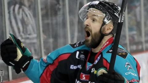 Colin Shields celebrates scoring for Belfast Giants against Coventry Blaze in the Elite League on Friday night.