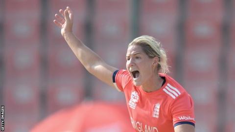 Katherine Brunt appeals for a wicket