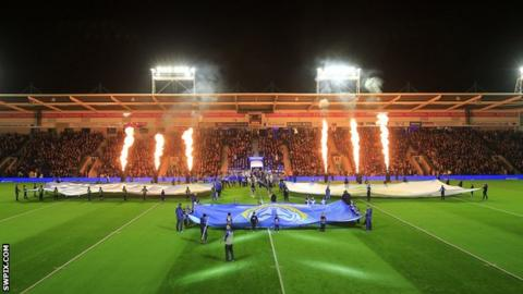 A view of the scene ahead of the World Club Challenge at the Halliwell Jones Stadium