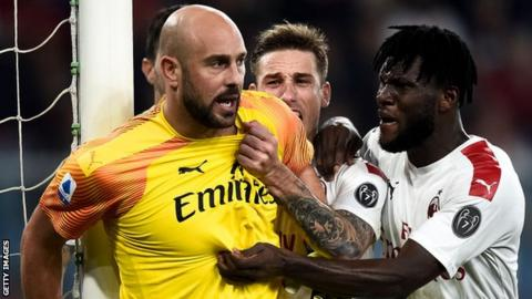 Genoa 1-2 AC Milan: Reina penalty saves hands Giampaolo a lifeline