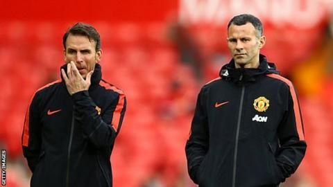 Albert Stuivenberg and Ryan Giggs during a Manchester United training session
