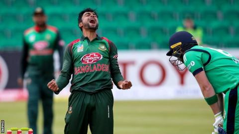Bangladesh bowler Abu Jayed celebrates taking the wicket of Andrew Balbirnie