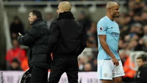 Vincent Kompany (right) walks off at Newcastle
