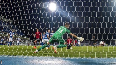 Rangers striker Alfredo Morelos scores against NK Osijek