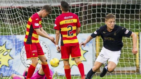 Falkirk player Peter Grant celebrating
