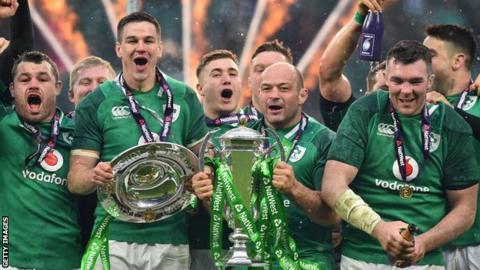 Ireland celebrate winning the 2018 Six Nations