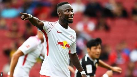 Leipzig's Naby Keita gestures during an Emirates Cup friendly match between RB Leipzig and Sevilla FC in London, 29 July 2017