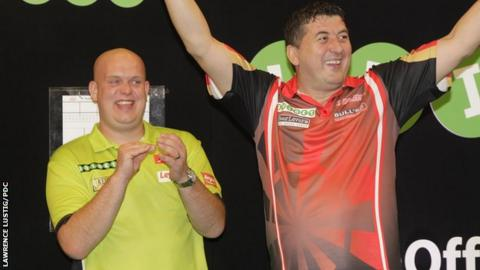 Michael van Gerwen and Mensur Suljovic