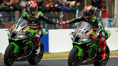 Jonathan Rea (left) and team-mate Tom Sykes (right) clinched Kawasaki's first one-two of the season