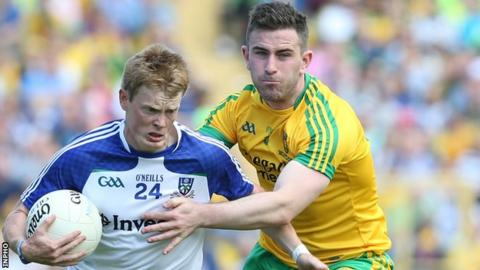 Ryan McAnespie is challenged by Donegal's Paddy McBrearty in last year's Ulster Football Final