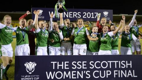Hibs celebrate with the Scottish Cup