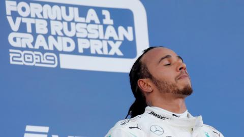 Lewis Hamilton on the podium after winning the 2019 Russian Grand Prix