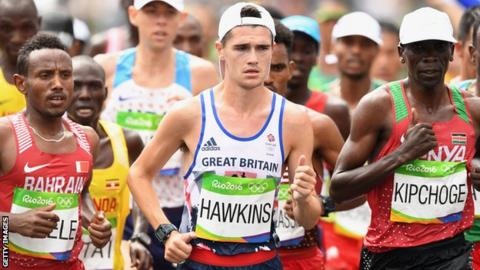 Callum Hawkins in the Rio marathon