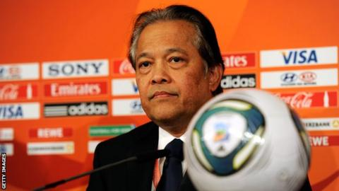 Former Thailand FA president Worawi Makudi speaking at a press conference