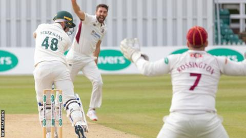Colin Ackermann leg before in Leicestershire's second innings