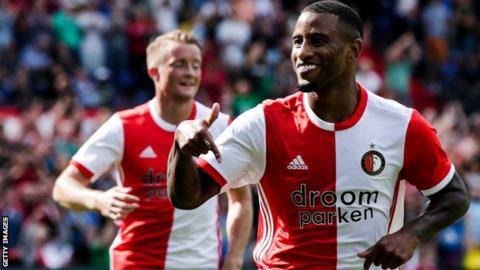 Feyenoord's Luciano Narsingh celebrates