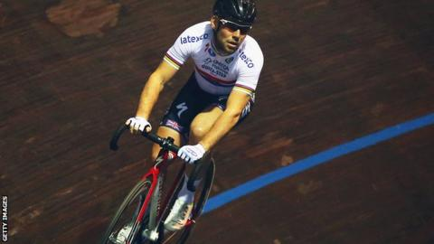 Mark Cavendish racing on the track