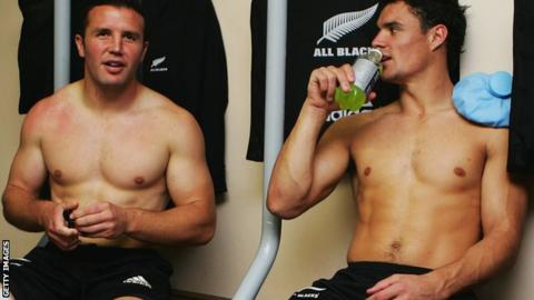 Aaron Mauger (left) with Dan Carter in the New Zealand dressing room