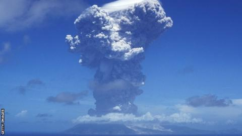 The Soufriere Hills volcano erupts