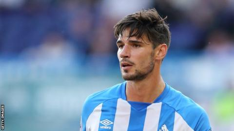 Christopher Schindler plays for Huddersfield Town in a 2017-18 pre-season friendly