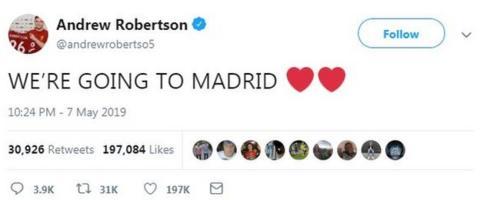 Andrew Robertson's tweet