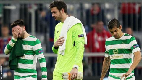 Celtic's Patrick Roberts, Craig Gordon and Cristian Gamboa are left disappointed in Munich