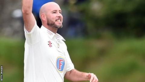 Chris Rushworth took two Lancashire wickets in the first over to equal Steve Harmison's county record haul of 458 first-class wickets for Durham