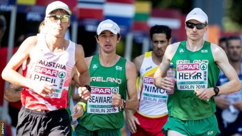 Kevin Seaward (second from left) and his Ireland team-mate Sean Hehir (right) during the men's marathon in Berlin