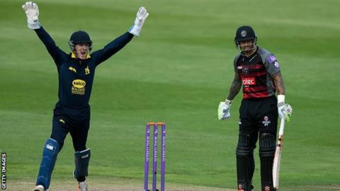 Warwickshire wicket-keeper Alex Mellor celebrates the wicket of Somerset's Peter Trego in the One-Day Cup semi-final win at Edgbaston, August 2016