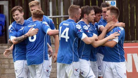 Dungannon Swifts celebrated a 2-0 win over Ballymena United at Stangmore Park