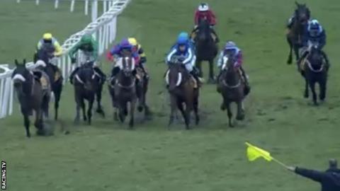 Jockeys in the London National at Sandown