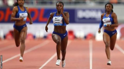 Dina Asher-Smith wins the women's 200m in the Diamond League meeting in Doha
