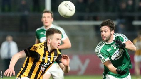 Gweedore's Odhran MacNiallais tries to win the ball ahead of Crossmaglen's Stephen Morris in the Ulster semi-final