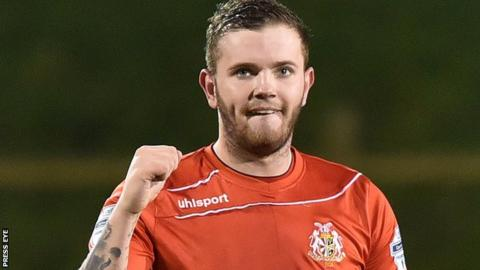 Darren Murray celebrates a goal for Portadown in December 2015