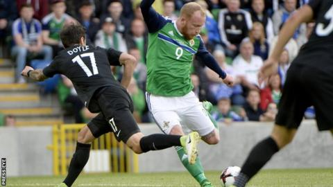 Liam Boyce fires home his first international goal in the Belfast game against New Zealand