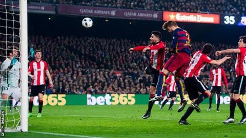 Gerard Pique scores for Barcelona against Athletic Bilbao