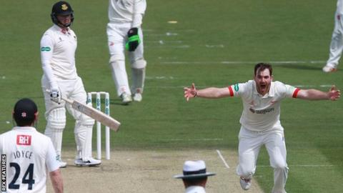 Ben Raine (right) appeals for a wicket