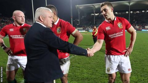 Lions coach Warren Gatland congratulates wing George North after the win over Crusaders