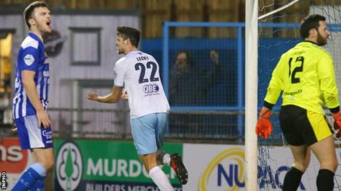 Sky Blues striker Adam Lecky celebrates after scoring the opener in last month's victory at Newry