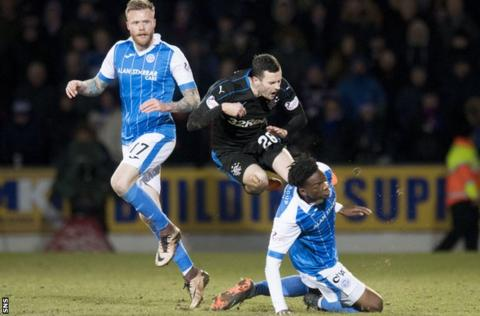Rangers' Jamie Murphy is tackled by St Johnstone's Matty Willock