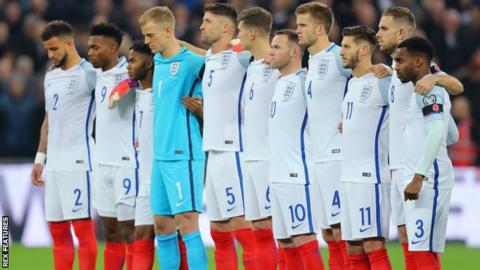 England line up before the World Cup qualifer against Scotland at Wembley